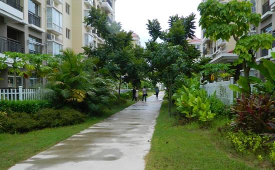琼海天来泉老年公寓干静整洁的楼道。绿化做得很好。