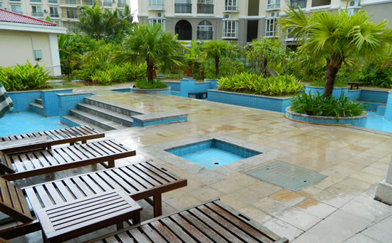 琼海天来泉老年公寓内的独立小温泉池。